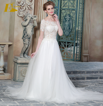 Y Off Shoulder A Line See Through Corset Lace Malaysia Wedding Dress