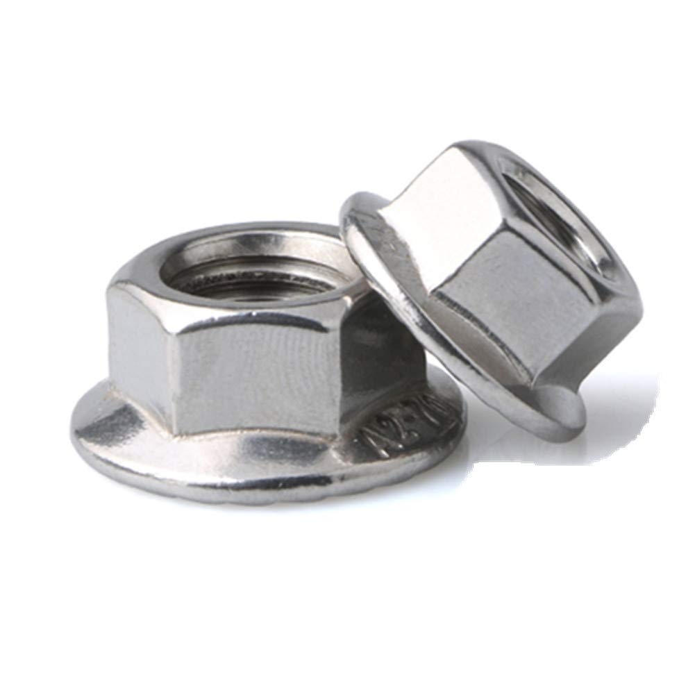 FullerKreg 100 Pcs M4 x 0.7 A2 Stainless Steel DIN 6923 Serrated Hex Flange Nut, 18-8 Stainless Steel 304, Bright Finish
