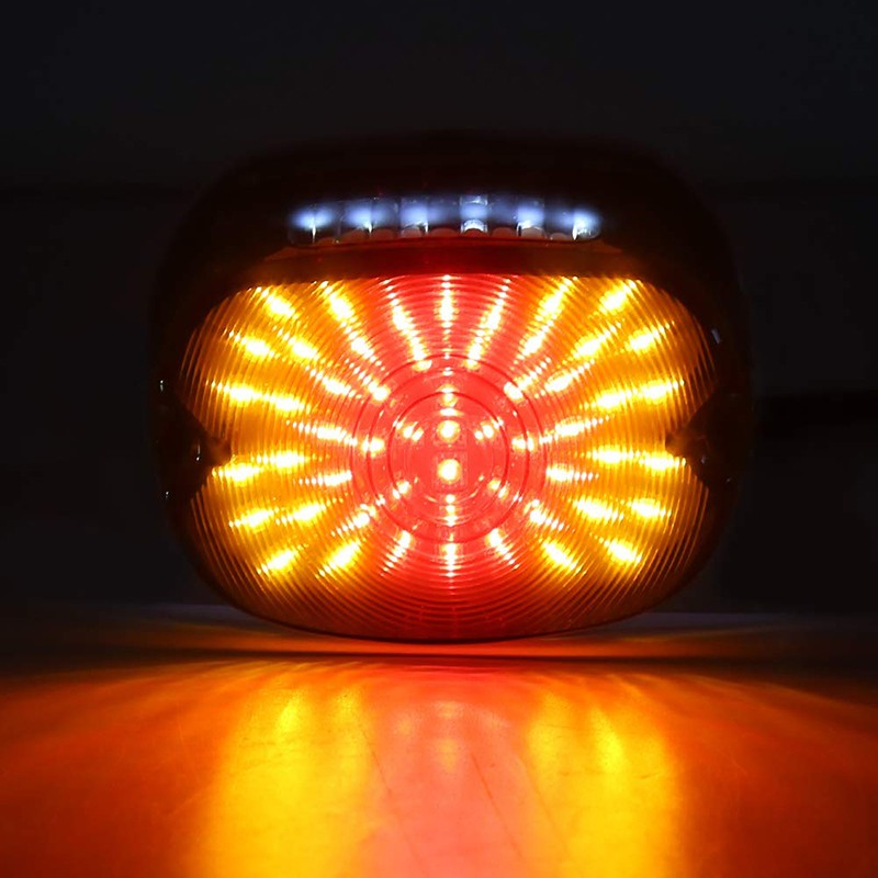 Ovovs Motorcycle Smoked Led Tail Lights 12v Turn Signal