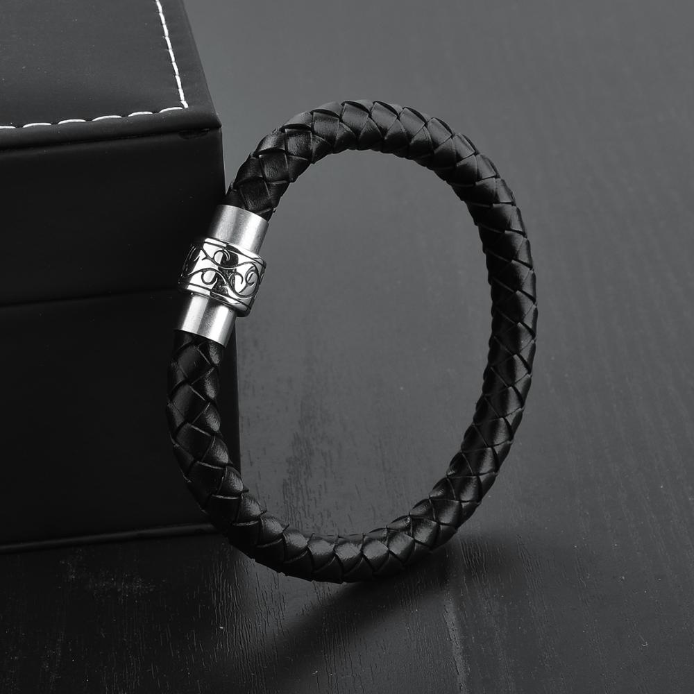 Wholesale Simple Design Magnetic Men Black Leather Bangle Bracelet