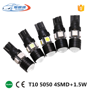 Car Led Lights T10 5050 4 SMD + 1.5W Lens W5W High Power Led Indication Signal Lights Parking Lamp