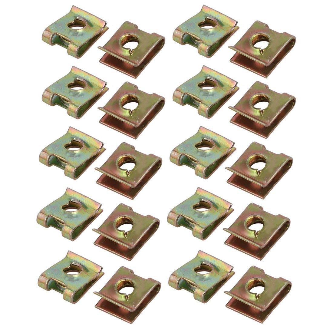 uxcell Fit M4/ST4.2 Screw 65Mn Steel Zinc Plated U Nut Brass Tone 10.2mm x 8.3mm 20pcs