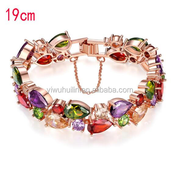 KS0001 Huilin Jewelry Trendy Rose Gold-Color AAA Colorful Cubic Zircon Mona Lisa Bracelet for Women Birthday Gift
