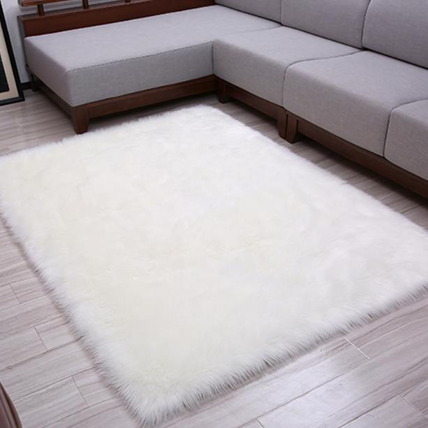 Whole Snowy White Pelt Faux Sheepskin Fur Rectangle Rug And Carpet Rugs Carpets