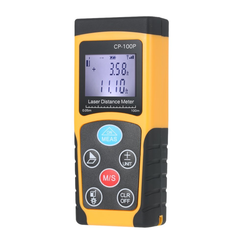 KKmoon 100m Handheld Digital Laser Distance Meter High Precision Range Finder Area Volume Measurement Data Storage with Backlight Yellow