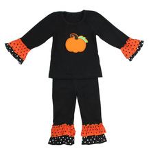 Baby Girls black clothes children ruffle clothing wholesale pumpkin print kids festival pajamas