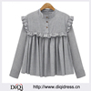 Spring Plaid Cotton Women Vintage Blouse with Ruffles Trim Pleat Lady Oversized Design Shirts Casual Tops