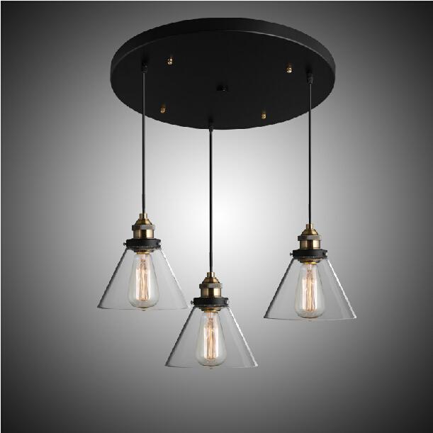 Glass Shade 3 Head Vintage Pendant Light Edison