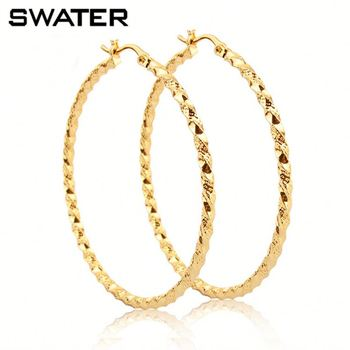 24 carat gold earrings bisuteria hoop earrings bamboo shape 24 carat gold 3077
