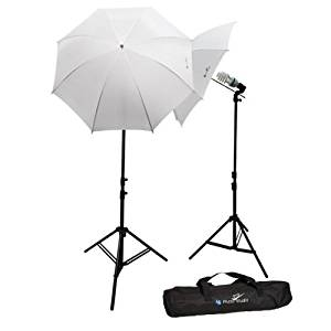 LimoStudio 600W 5500K Photo Video Studio Continuous Lighting Bundle Kit UL1573 ETL Listed Photo Bulb Socket, White Umbrella Reflector, Photography Studio, Stand Carry Bag, Light Stand Tripod, AGG293V2