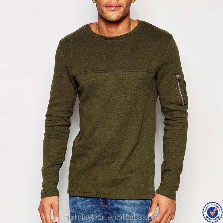 66bf894c online shopping india 100% cotton mens long sleeve tee shirts contrast yoke  zip pocket sleeve t shirt