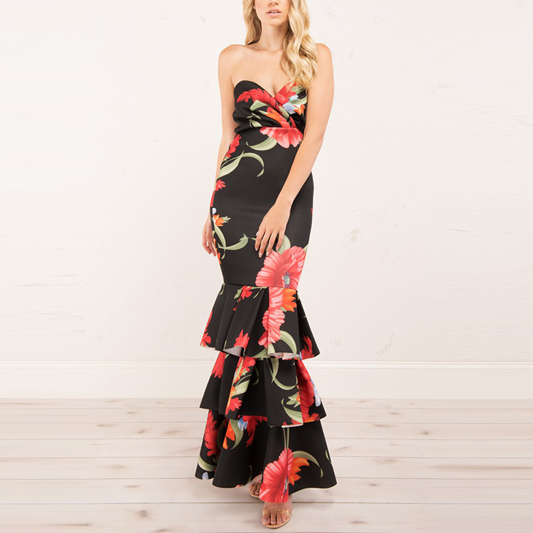 fce1473f3c9 Strapless sweetheart neckline floral print tiered mermaid skirt ladies maxi  dress