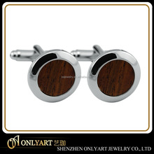 High quality oval brass metal cufflink wood inlaid cufflinks