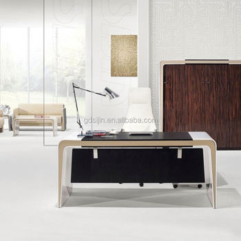 3 Drawer Office Desk Executive Table Tall Acrylic Top SIJIN L