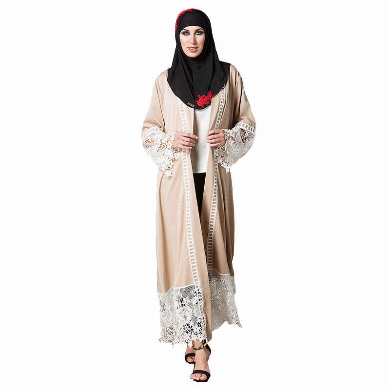 Cheap Islamic women wear new model abaya in with belt 2018 popular in stock Muslim chiffon lace kimono Dubai