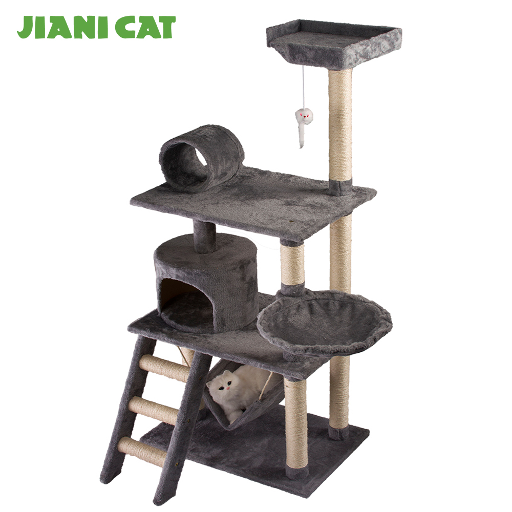 china plush wooden pet supplier furniture toys cat scratcher tree