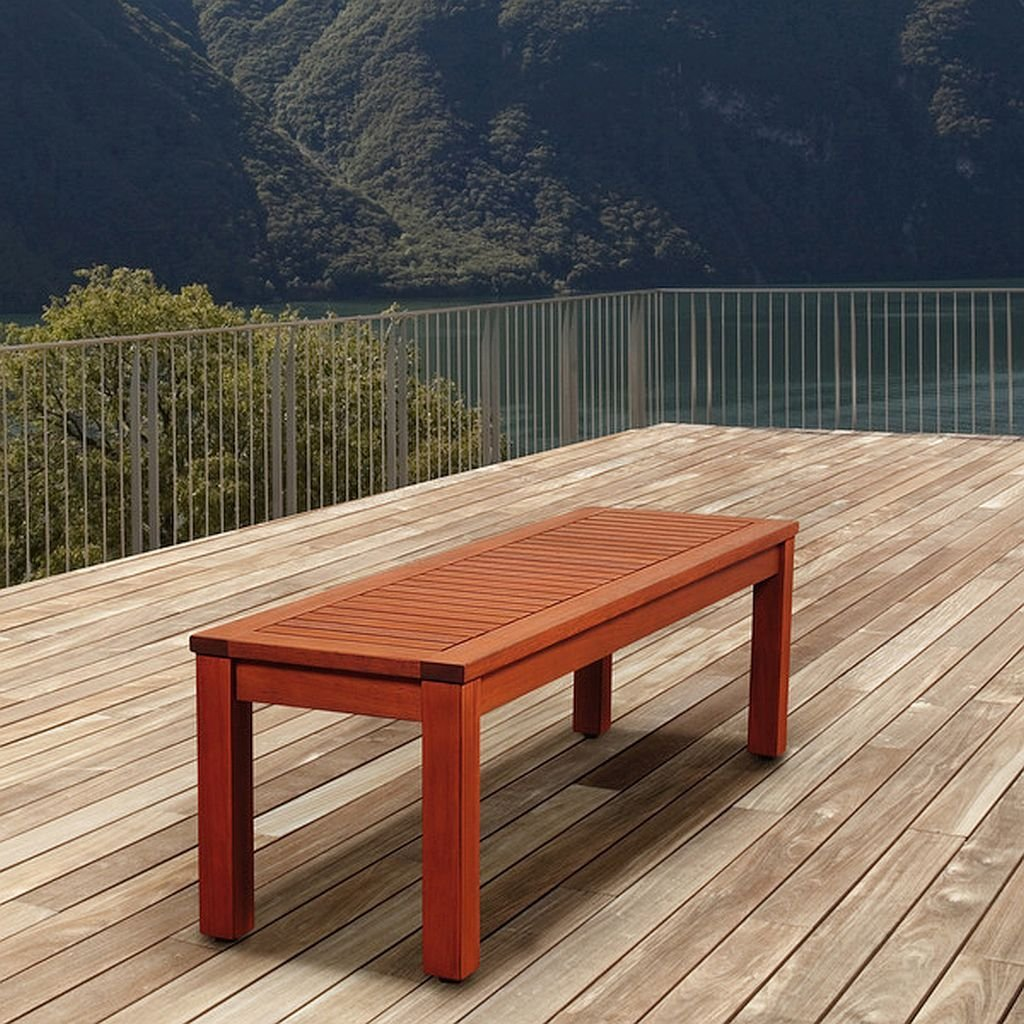 Get Quotations · Eucalyptus Backless Patio Bench, This Wood Patio Bench Is  Water Resistant And Offers Uv