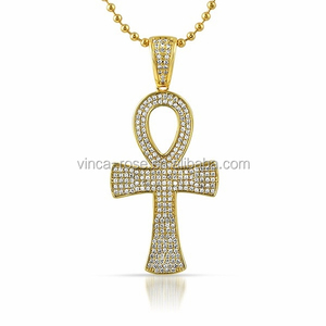 Hot sale custom name hip hop men micro pave jewellery egyptian ankh cross bling iced out necklace big gold jewelry