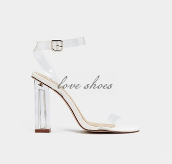 451b4b80a42 Transparent band Ankle buckle strap girls summer shoes perspex Block heels  open toe sandals