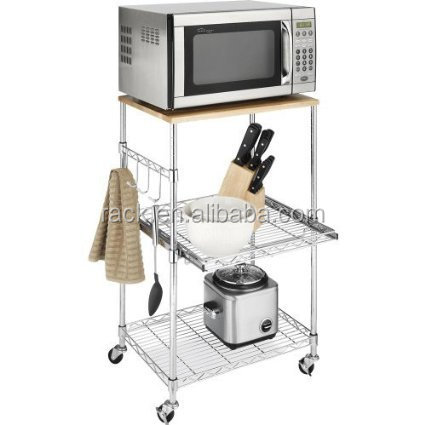 Multi Purpose Chrome Metal Wire Kitchen Microwave Cart , DIY Style