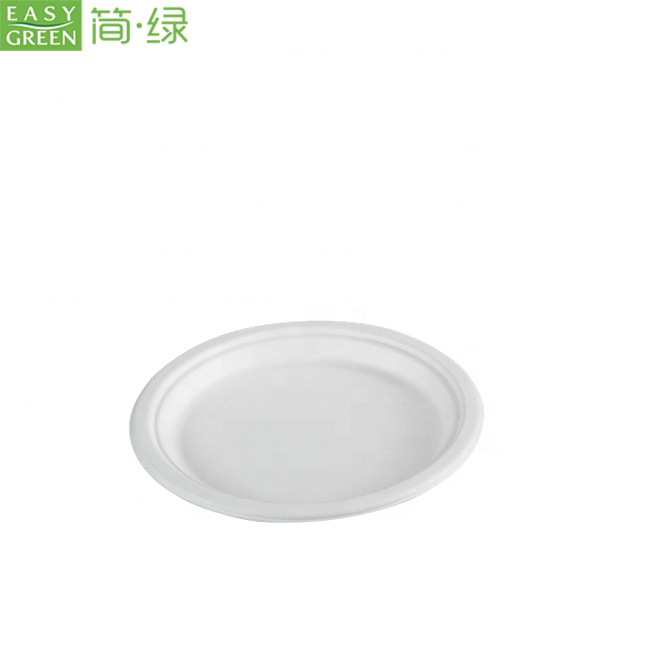 Easy Green 7 Inch Biodegradable Food Packaging Disposable Sugarcane Pulp Round <strong>Plate</strong>