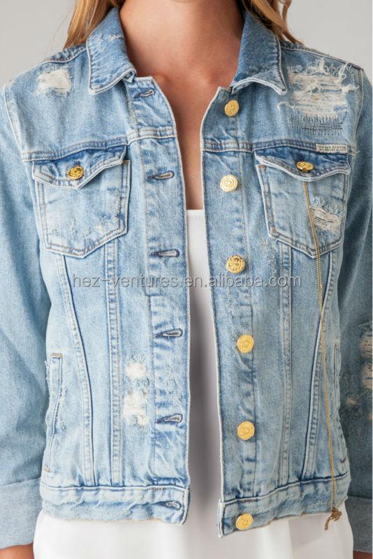 Womens Distressed Denim Jacket Ladies 100 Cotton Stone