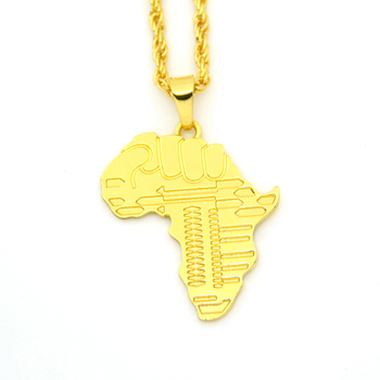 New Fist African map Pendant Hip Hop Jewelry cheap Map Necklace Charm  Pendant for men and da3051f7a9