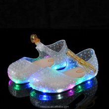 2017 New LED Girl Shoes Bow Princess Jelly Shoes Butterfly Princess Melissa Sandals