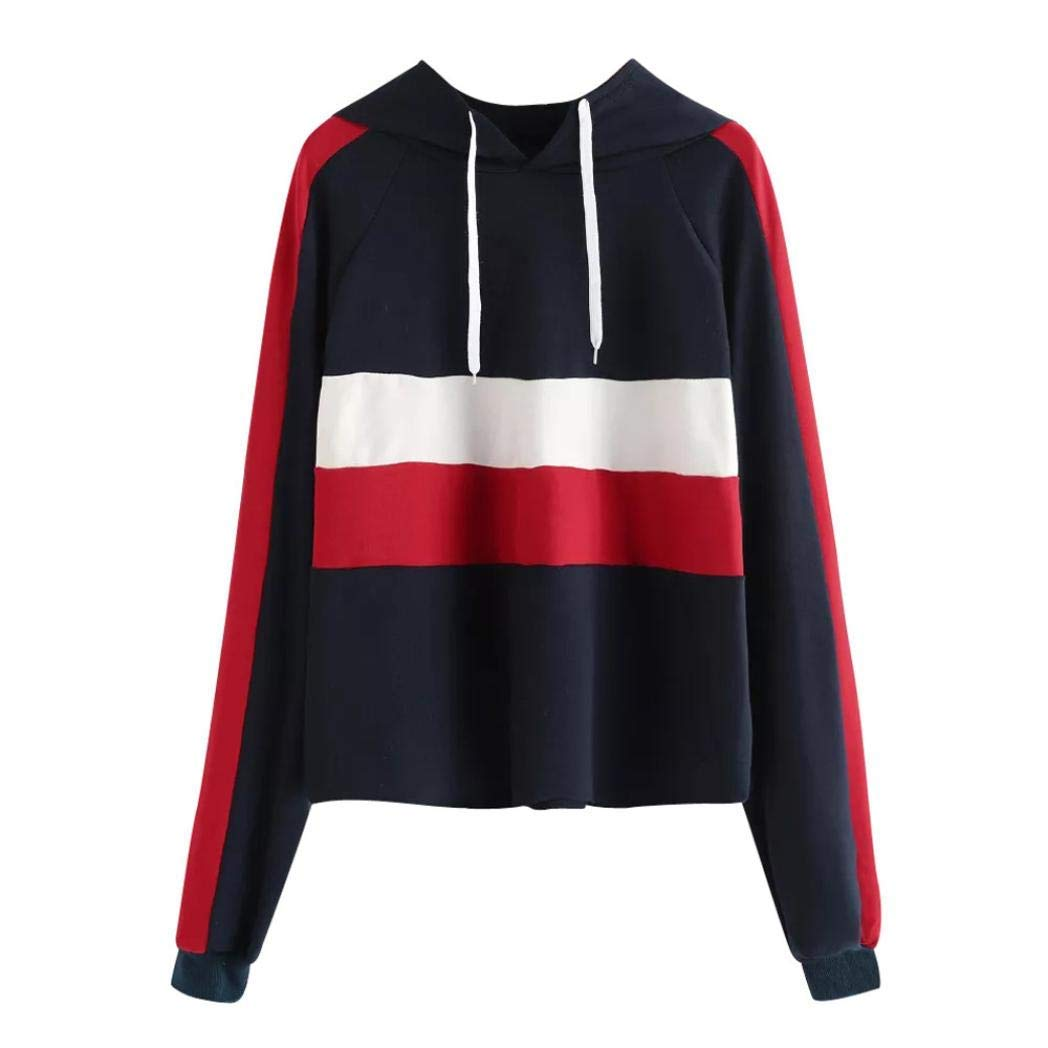 Womens Casual Striped Patchwork Hoodie Sweatshirt Long Sleeve Casual Sports Shirt Top Blouse