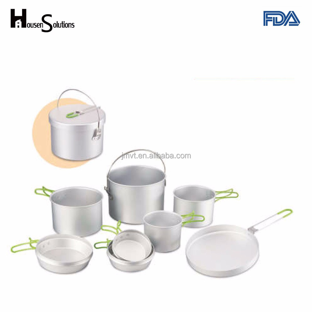 Aluminum Outdoor Cooking Pot Camping Cooking Cookware Equipment Kit