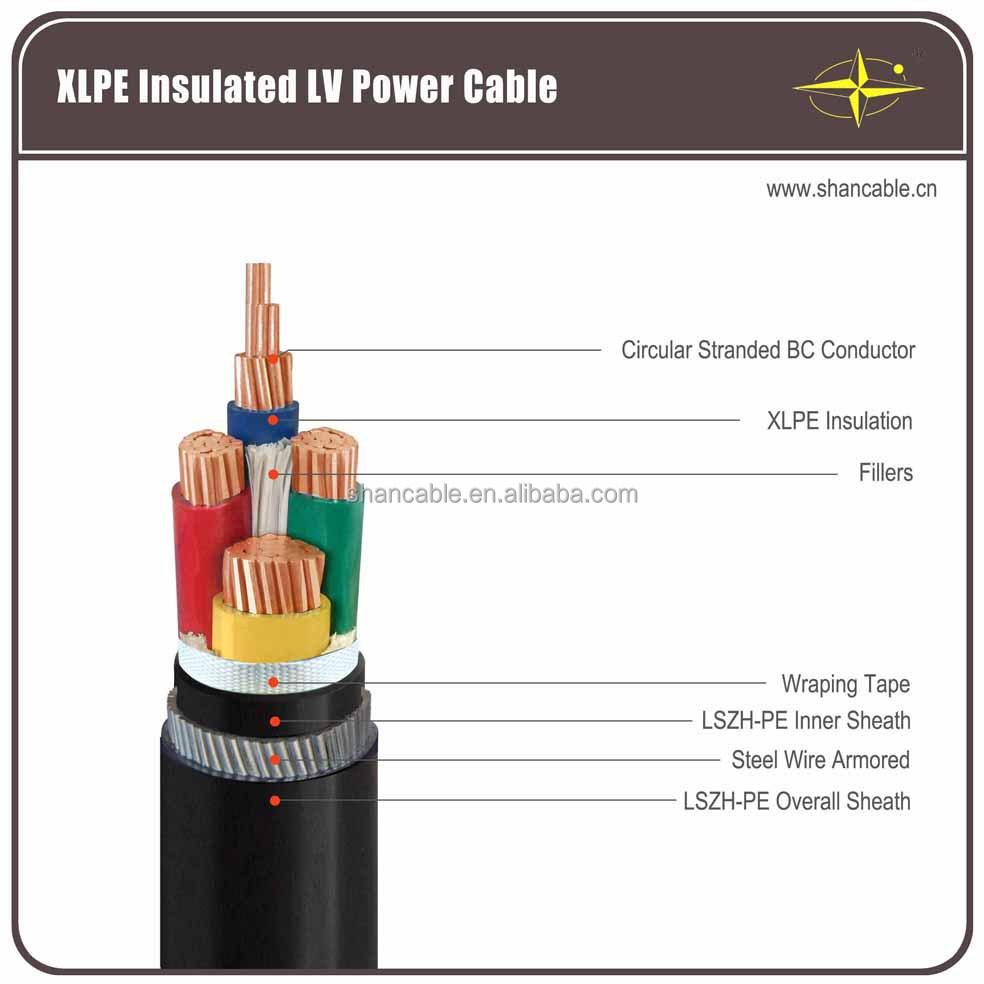 0.6/1kv cu/xlpe/swa/pvc power cable 4 core 240mm xlpe