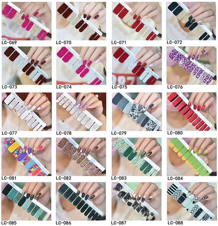 Best selling products non-toxic fullcover waterproof art cute gitter nail sticker