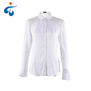 Top quality professional nice plain long sleeve formal rayon white woman blouse