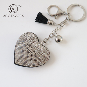 Hot selling custom diamond heart sequin keychain