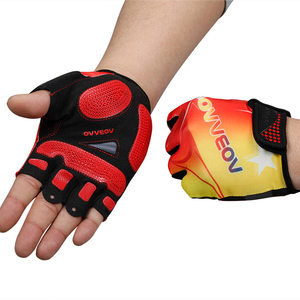 Customized mens half finger grip pad bike cycling gloves