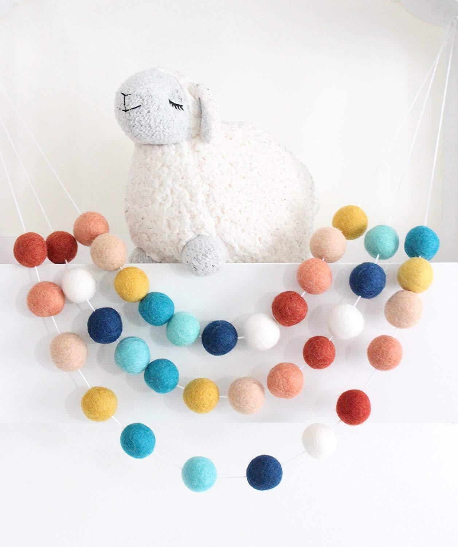 """Southwestern Sky"" Handmade Felt Ball Garland by Sheep Farm Felt- Terracotta, Coral, Peach, Musard, Marine, Aqua, Navy, White Pom Pom Garland. 2.5 cm balls."