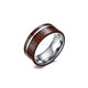 Fashion Design 8mm Tungsten Carbide Flat Top Koa Wood Inlay Tungsten Ring Wedding Engagement Bands For Men