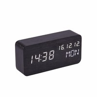 Bluetooth Speaker New arrival cube digital wooden alarm clock with temperature
