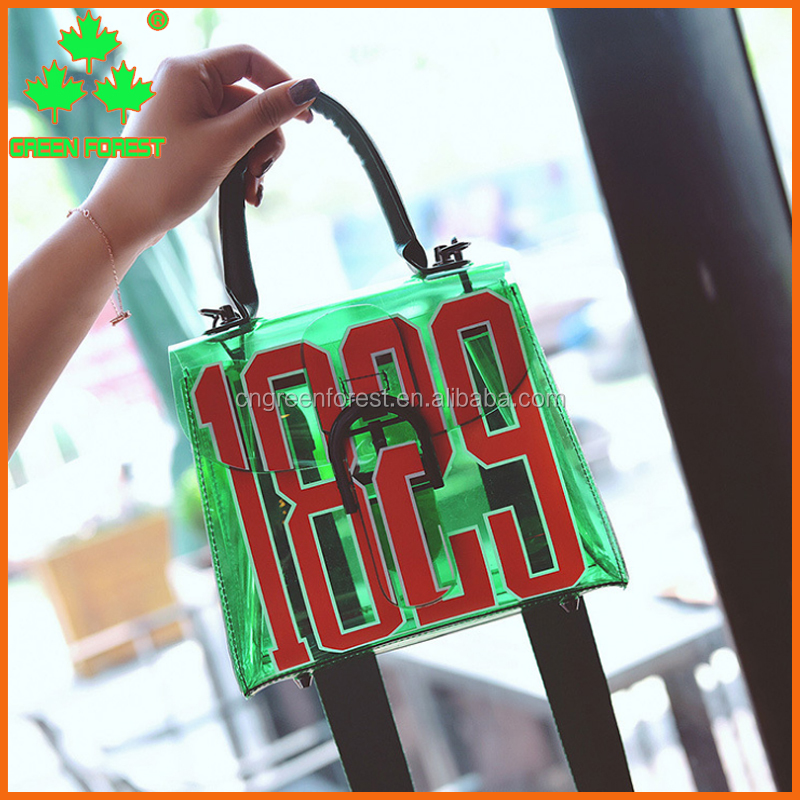 2017 new fashion jelly monogrammed crossbody tote bag