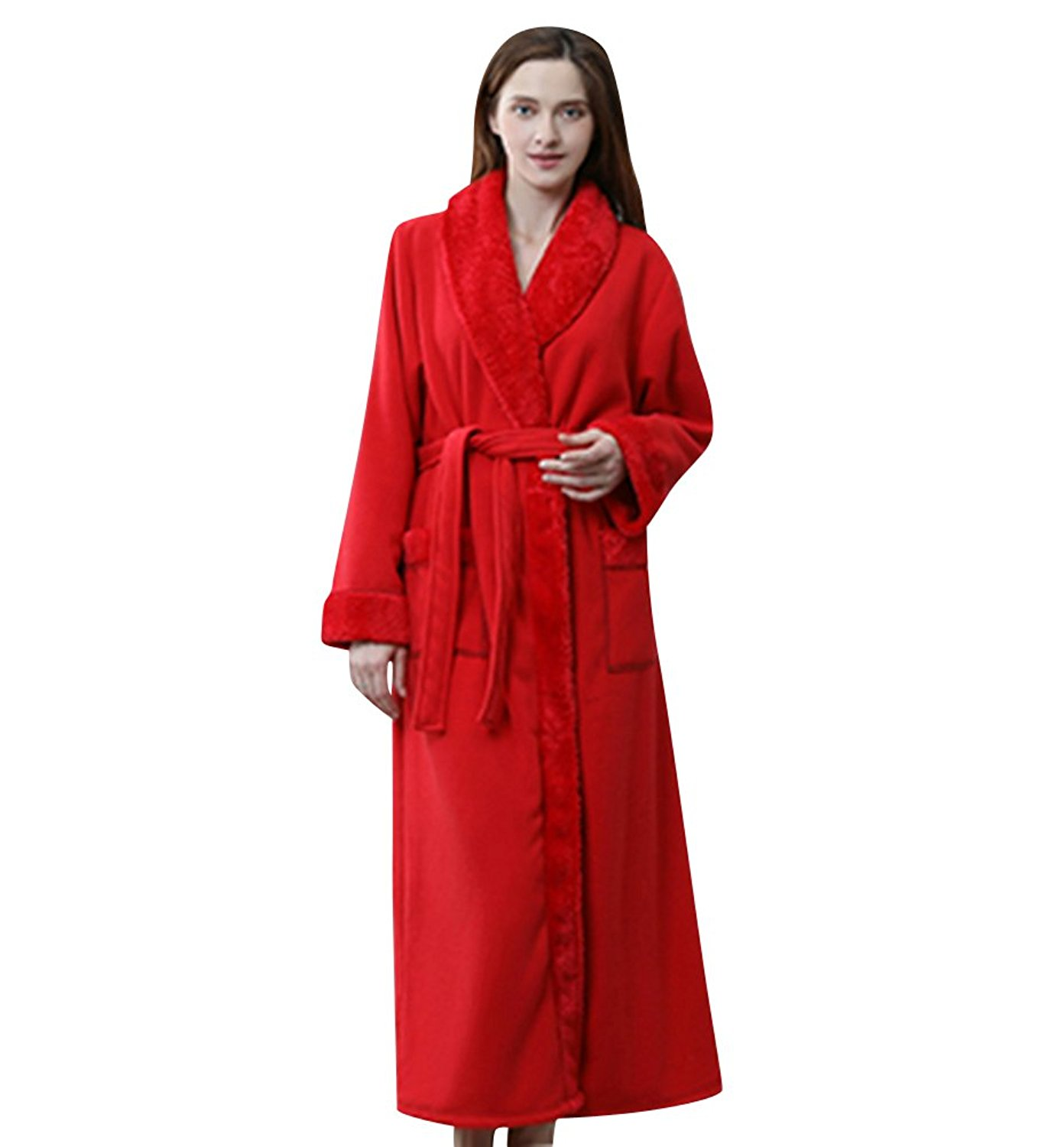 6b6e94c46654 Get Quotations · Necuv Long Thermal Warm Sleepwear Flannel Robes Womens  Bathrobe