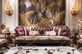 french luxury meuble royale gold genuine leather sofa