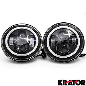 "Krator Pair of 7"" Round LED Headlight w/ Halo Ring Angel for 2007-2016 Jeep Wrangler Unlimited 4-Door (JK)"