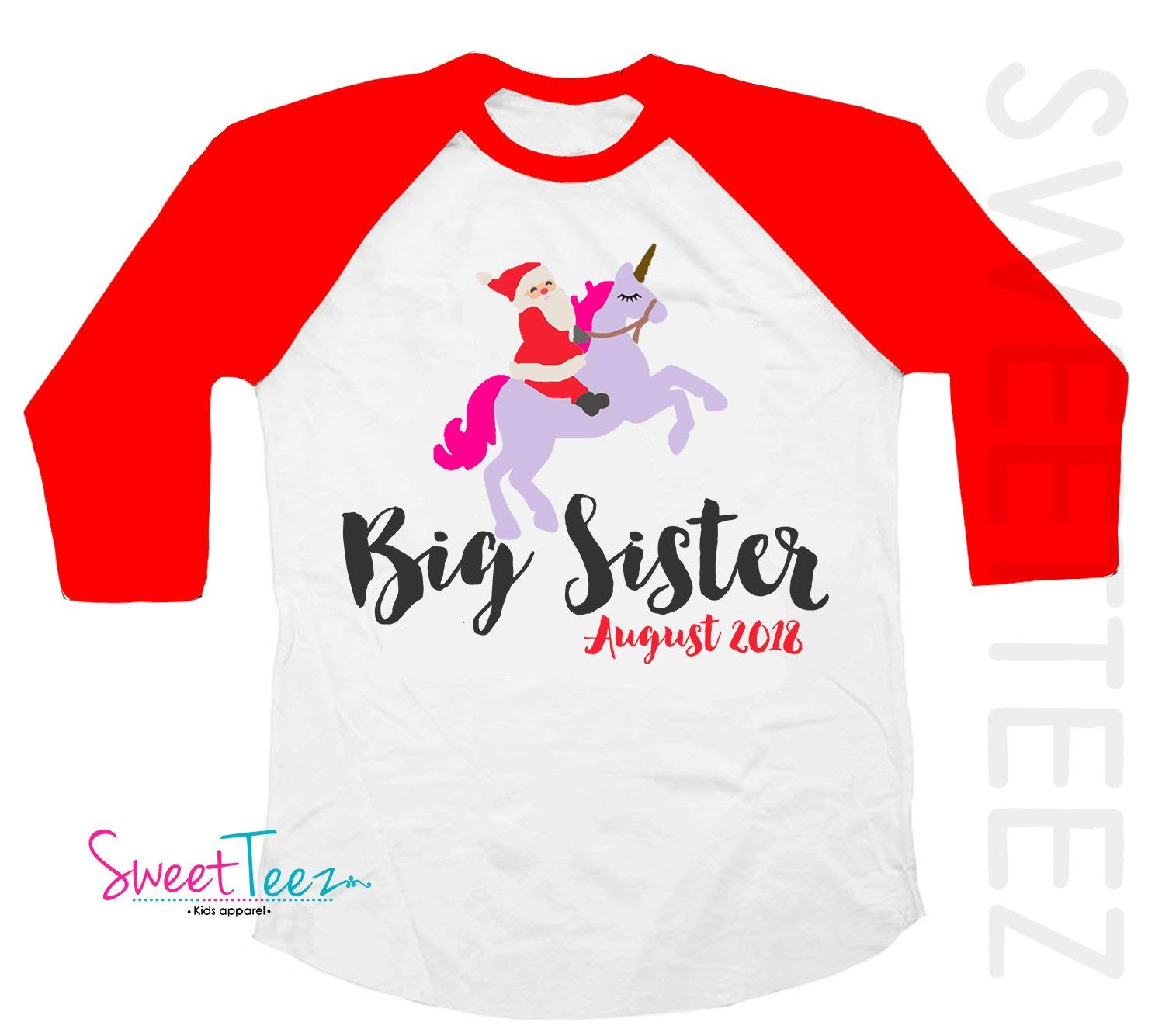 a80d8c89648db Get Quotations · Big Sister Shirt Christmas Shirt Personalized Due Date for  Fall and Thanksgiving Pregnancy Announcement Red Raglan