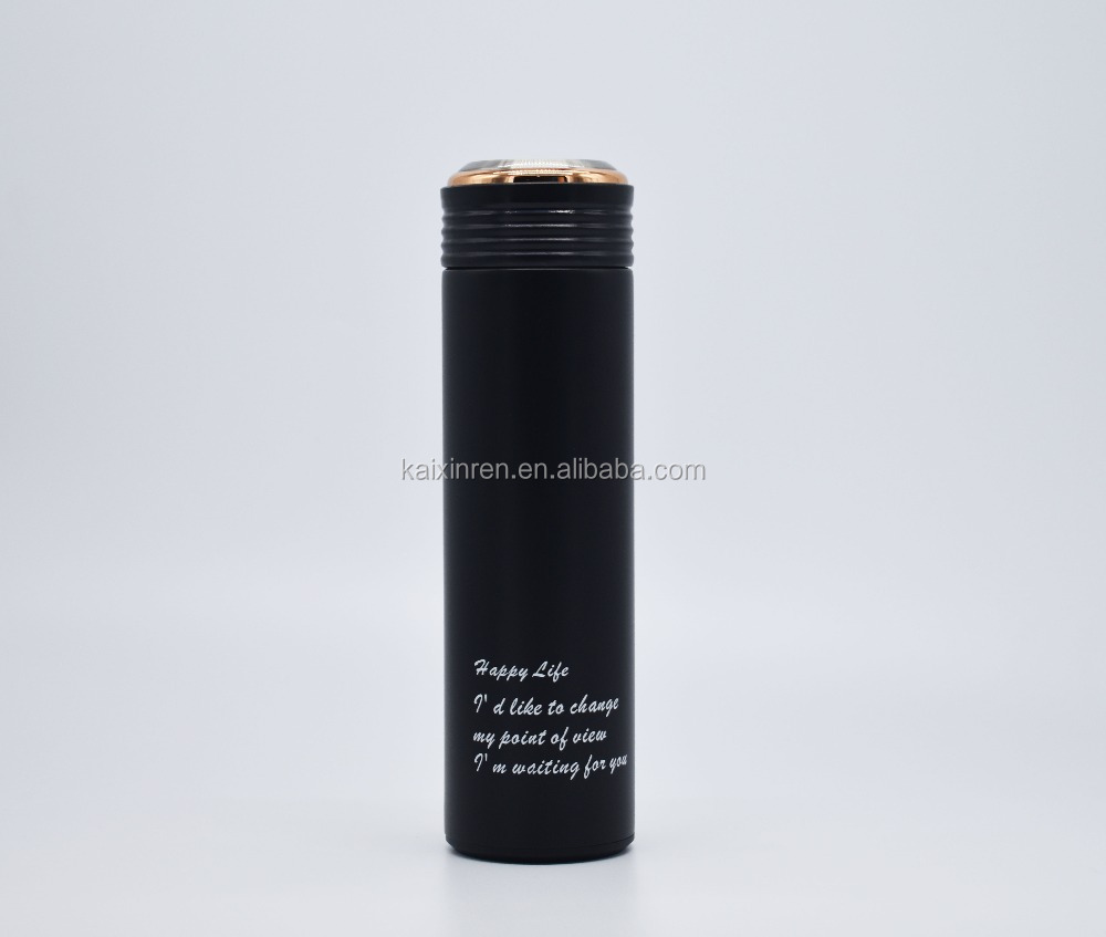 Double layer stainless steel vacuum thermal insulation cup matt black stainless steel thermos take away coffee cups