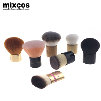 Big Powder Private Label Gold Synthetic Vegan Large Small Contouring Custom Flat Top Rose Gold Bamboo Foundation Kabuki Brush