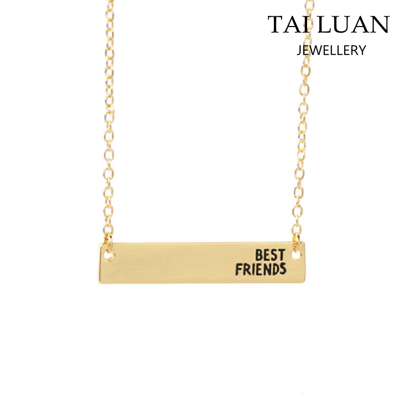 Wholesale best friend necklace gold bar name necklace