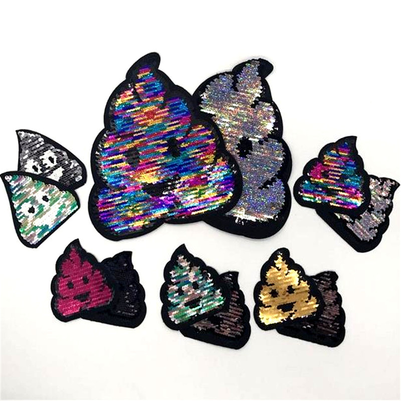 Funny Poo Poo Sequin Patches Cartoon Reversible Change Color Sequins Badge Iron On Patches For Clothing DIY Applique P324