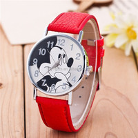 Cartoon Hot Sale Watch Mickey Mouse Boy Girls Kids Cartoon leather watch