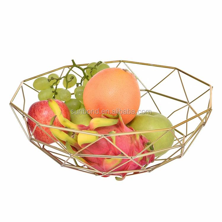 Gros Décoratif En Laiton Fil Corbeille De Fruits Avec Couvercle Net on