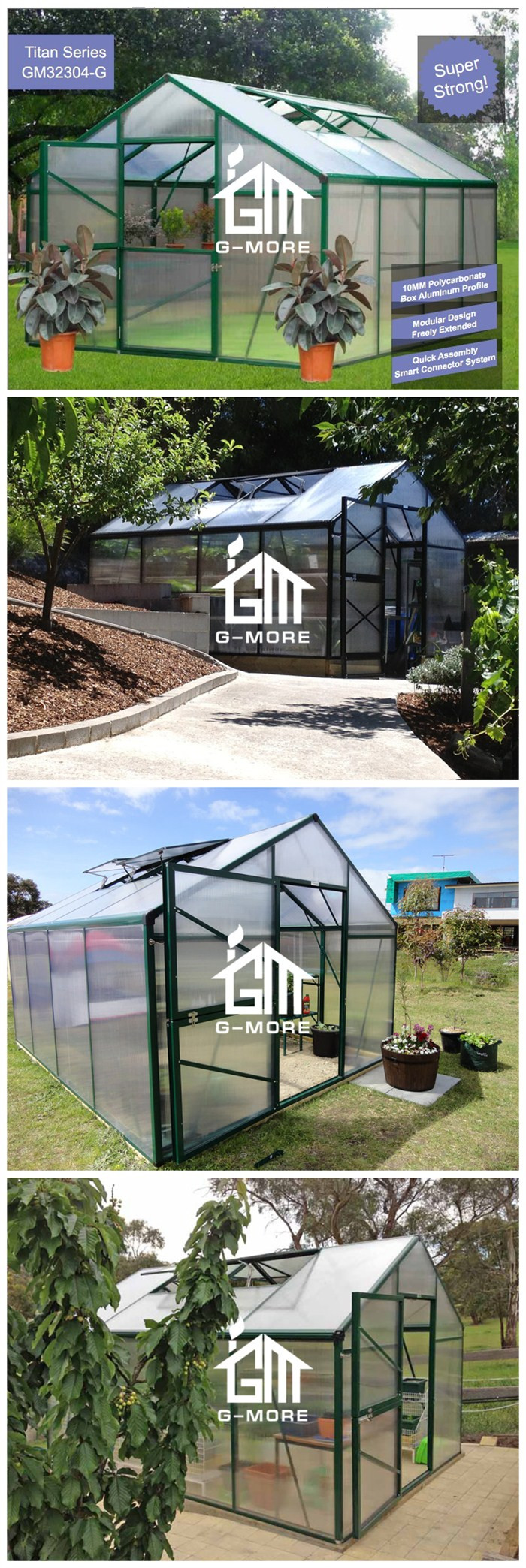 G-MORE Titan/Grange Series, 3M Width/4M length, Premium Harvest Aluminum/10MM Polycarbonate Hobby Greenhouse(GM32304-B)